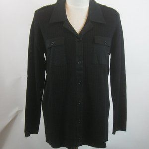 Colette Mordo Ribbed Knit Button Front Shirt NWT